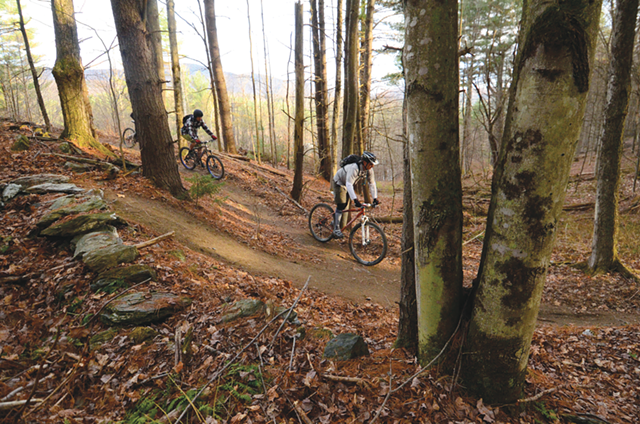 Bikers navigate the Stowe Recreation Path - JEB WALLACE-BRODEUR