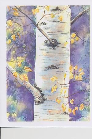"COURTESY OF SHELBURNE VINEYARD - ""Birch at Twilight"" by Michelle Ennis Jackson"