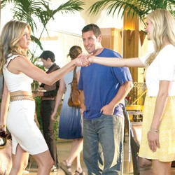 BLAND ON BLAND Decker and Aniston prepare to engage in a blonde-off while Sandler contemplates his next paycheck.