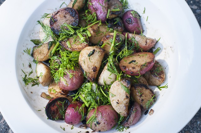 Blistered radishes and hakurei turnips with dill - PHOTOS BY HANNAH PALMER EGAN