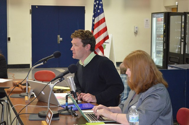 Board chair Patrick Halladay and outgoing superintendent Jeanne Collins at a recent school board meeting. - ALICIA FREESE