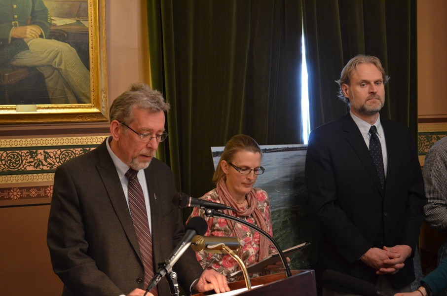 Brian Shupe, Lori Fisher and Chris Killian speak at a press conference on the state's proposed TMDL plan on Wednesday afternoon. - PHOTO BY PAUL HEINTZ