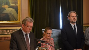 Brian Shupe, Lori Fisher and Chris Killian speak at a press conference on the state's proposed TMDL plan on Wednesday afternoon.