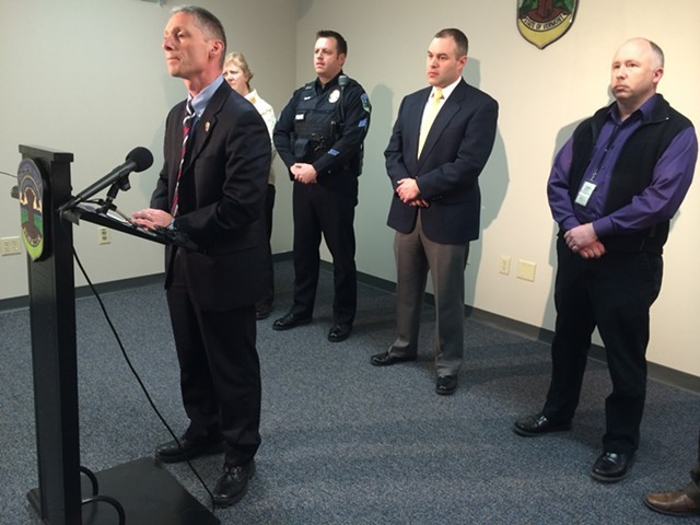 Burlington Police Chief Michael Schirling during a Monday press conference on the killing of 23-year-old Kevin DeOliveira - MARK DAVIS