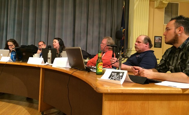 Burlington School Board members shown earlier this year in Contois Auditorium. - ALICIA FREESE