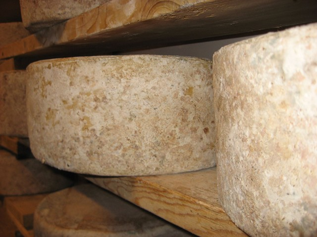 Cabot clothbound cheese aging in Vermont on wooden boards. - FLICKR/SISTERBEER
