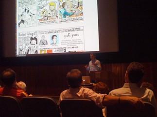 CCS alum Dan Archer lecturing on comics in journalism at the 2012 Woodstock Digital Festival - CENTER FOR CARTOON STUDIES