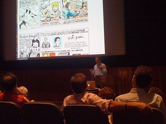 CCS alum Dan Archer lecturing on comics in journalism at the 2012 Woodstock Digital Festival - CENTER FOR CARTOON STUDIES