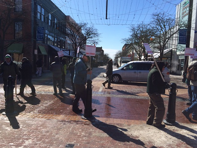 CCTA drivers and supporters have been picketing on Church Street since Monday. - ALICIA FREESE