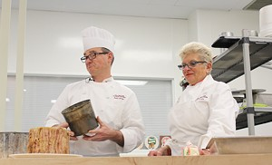 Chef Andrew Burnier and his mother, Monique, present their farcement at NECI