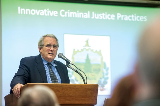 Chief Justice Paul Reiber at Vermont Law School in South Royalton - TOM MCNEILL