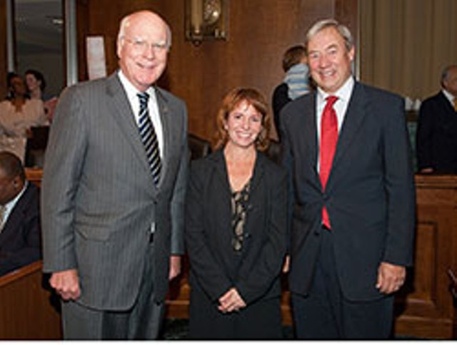 Christina Reiss with Patrick Leahy and Judge William Sessions III