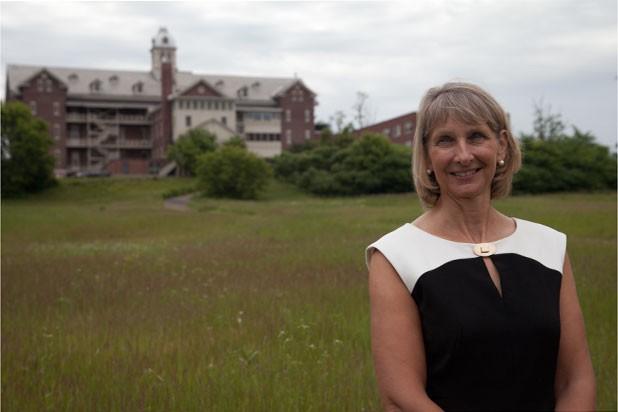 Christine Plunket on the Burlington College campus - MATTHEW THORSEN