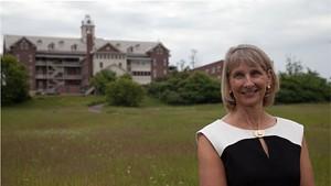 Christine Plunkett on the Burlington College campus.