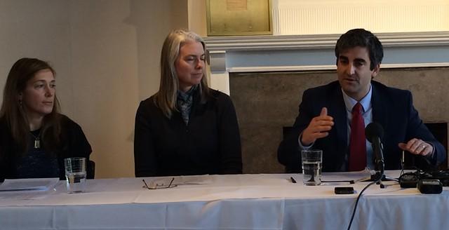 City councilors Karen Paul and Joan Shannon listen as Mayor Miro Weinberger announces the Burlington Telecom settlement on February 3, 2014, - ALICIA FREESE