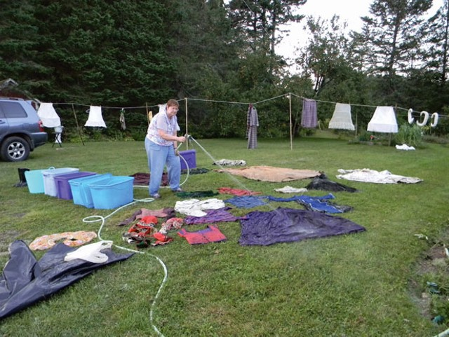 Cleaning costumes after the storm