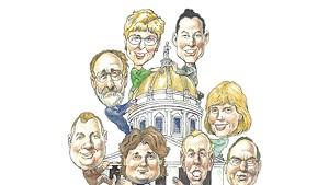 Clockwise from top right: Michael Ly (R), Jean O'Sullivan (D), Roy Collette (L), Scot Shumski(R), Loyal Ploof (L), Kurt Wright (R), Bob Hooper (D), Joanna Cole (D)