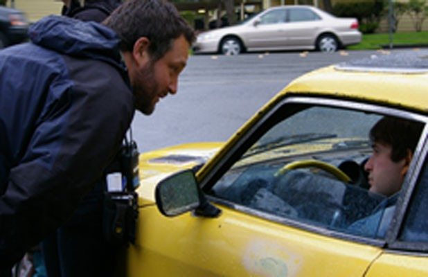 Colin Trevorrow (left) on the set of Safety Not Guaranteed with star Mark Duplass