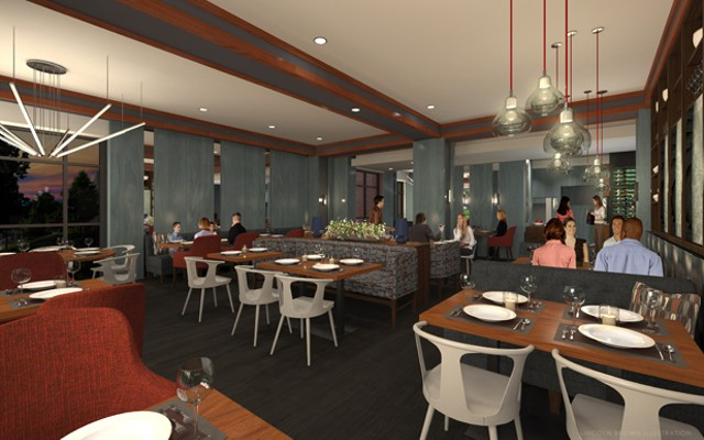 Conceptual design for the dining room at Bleu