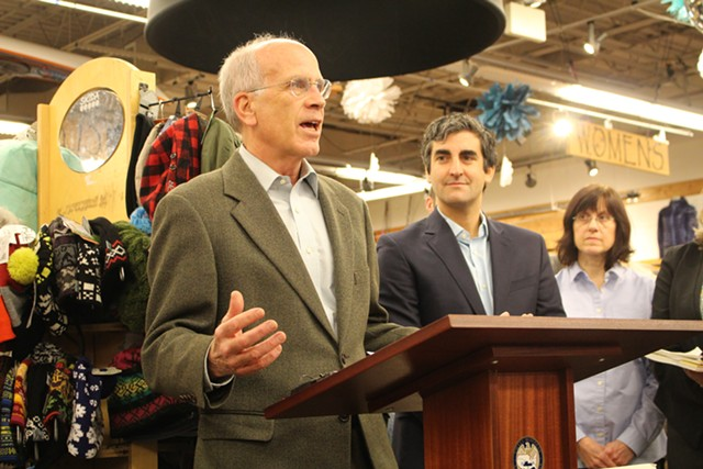Congressman Peter Welch speaks at Burlington's Outdoor Gear Exchange in November. - FILE: PAUL HEINTZ