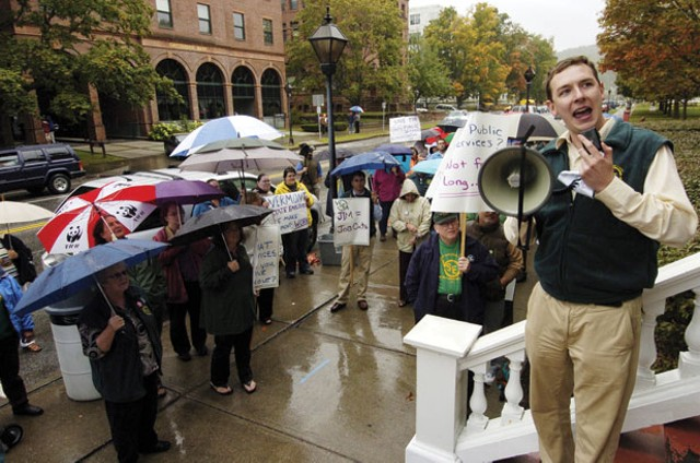 Conor Casey, one of six employees who recently left the VSEA, at a 2009 rally in Montpelier