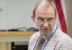 David Larcombe at a recent school board finance committee meeting. - OLIVER PARINI