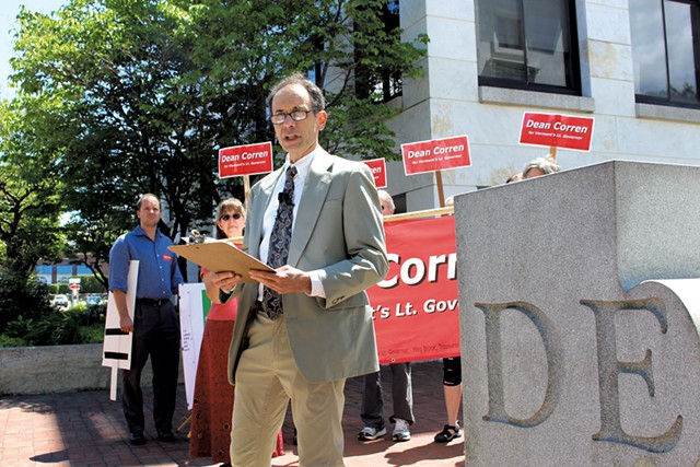 Dean Corren at a Burlington press conference in July - FILE: PAUL HEINTZ