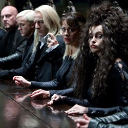 DOOM AT THE TABLE Death Eaters have their day as the? Potter saga finally draws near its close.?