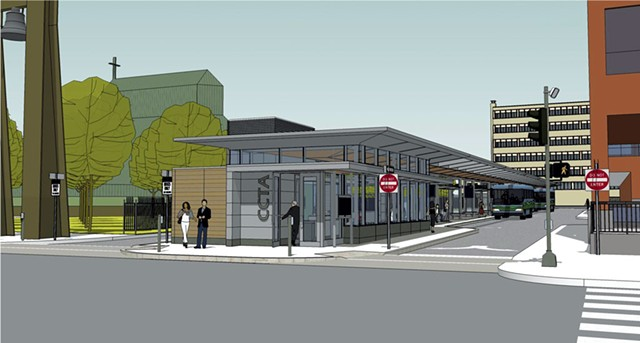 Downtown Burlington station proposed design (seen from Cherry Street) - PHOTOS COURTESY OF CCTA
