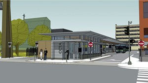 Downtown Burlington station proposed design (seen from Cherry Street)