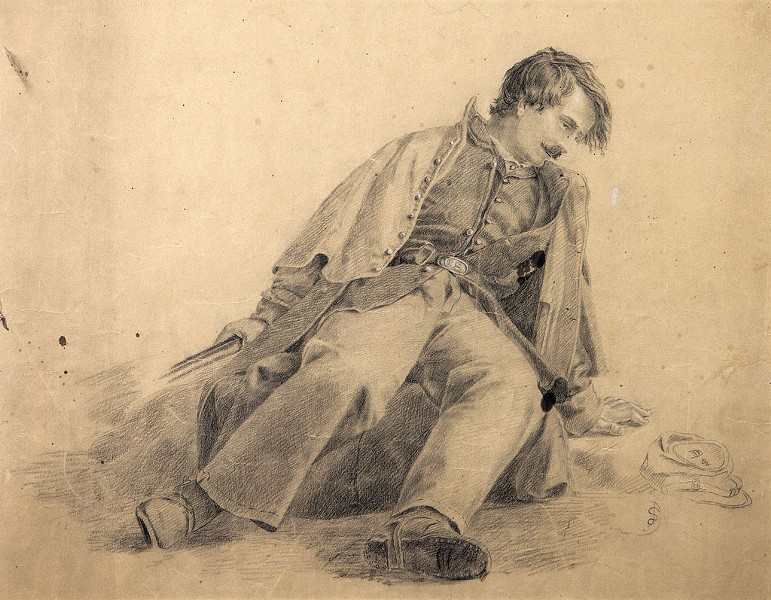 Drawing of a wounded soldier by Vermont artist Julian Scott - COURTESY OF FLEMING MUSEUM;
