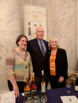Eleanor Leger of Eden Ice Cider with Sen. Patrick Leahy and his wife, Marcelle