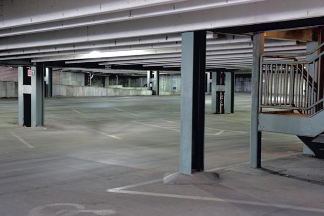 Empty spaces in Burlington Town Center Garage - MATTHEW THORSEN