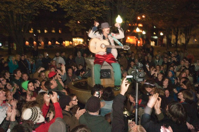 Eugene Hutz performing in City Hall Park in November
