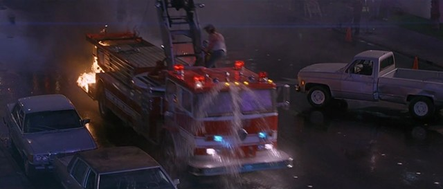 Every vehicle in Con Air becomes a moving death trap, fire engines included. - TOUCHSTONE PICTURES