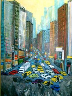"""Expect Delays — Rhinos"" by  Lynn Rupe"