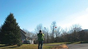 Ezra Hall photographs the balloons that mark the site of the future tower