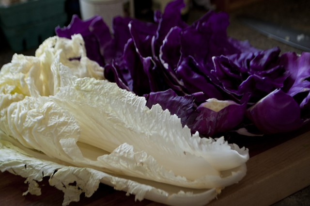 Blending Napa with red cabbage makes for a lighter dish than using red cabbage alone. - HANNAH PALMER EGAN