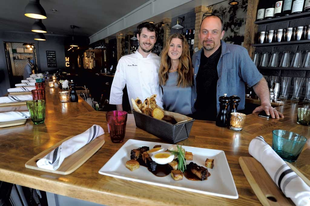 Click To Enlarge Chef Aaron Martin With Owners Jamie Persky And Mark Rosman At Plate In Stowe
