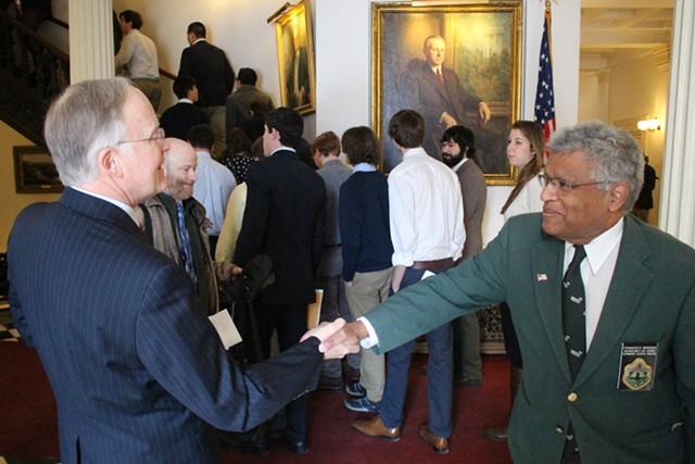 Former governor Jim Douglas and Sergeant-at-arms Francis Brooks - PAUL HEINTZ