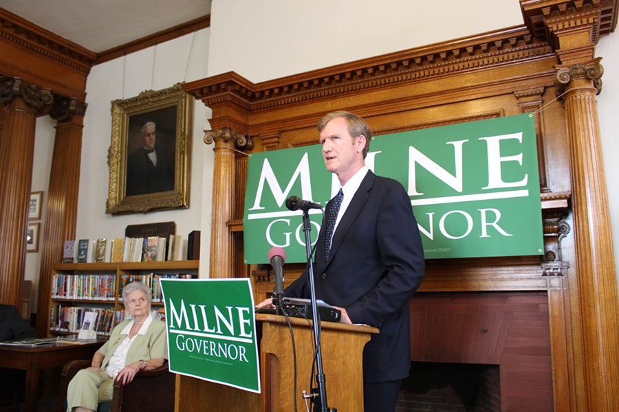 Former state representative Marion Milne watches her son, Scott Milne, announce his candidacy for governor. - PAUL HEINTZ