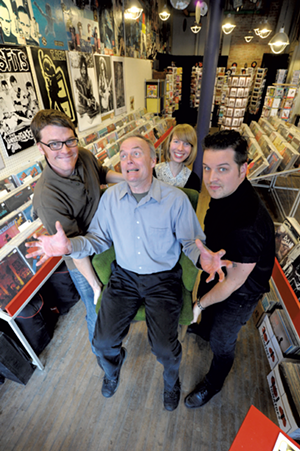 Fred Wilber, owner of Buch Spieler Music in Montpelier, is held in high esteem by his colleagues and coworkers. Left to right: Jeff  Thomson, Hannah Bean and Knayte Lander. - PHOTOS: JEB WALLACE-BRODEUR