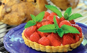 JEB WALLACE-BRODEUR - Fresh strawberry tartlette with Vermont mascarpone at the Kingsbury Farmstead Kitchen