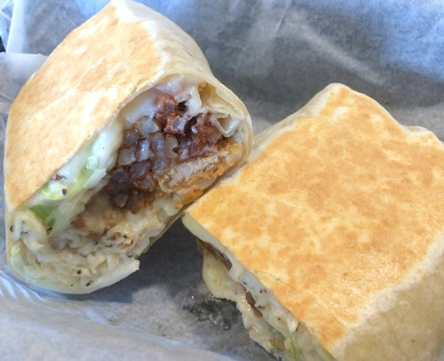 Fried chicken burrito, $8.50 - ALICE LEVITT