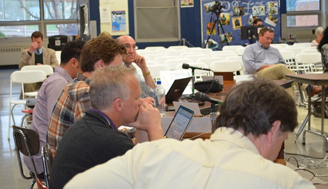 From left, board members Keith Pillsbury, Brian Cina, Henry Prine, Alan Matson and Charlie Giannoni at a meeting on Tuesday. - ALICIA FREESE