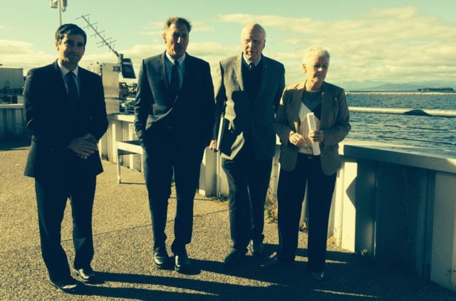 From left, Burlington Mayor Miro Weinberger, Gov. Peter Shumlin, Sen. Patrick Leahy and EPA Administrator Gina McCarthy walk into ECHO Lake Aquarium and Science Center. - MARK DAVIS