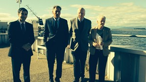 From left, Burlington Mayor Miro Weinberger, Gov. Peter Shumlin, Sen. Patrick Leahy and EPA Administrator Gina McCarthy walk into ECHO Lake Aquarium and Science Center.