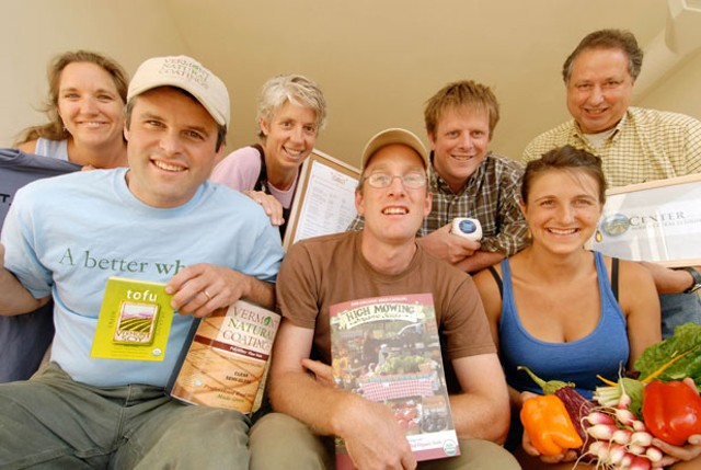 From left: June Van Houten, Highfields Institute; Andrew Meyer, Vermont Soy and Vermont Natural Coatings; Linda Ramsdell, Claire's Restaurant; Tom Stearns, High Mowing Organic Seeds; Andy Kehler, Jasper Hill Farm cheeses; Meg Gardner, Pete's Greens; and Monty Fischer, executive director of the Center - JEB WALLACE-BRODEUR