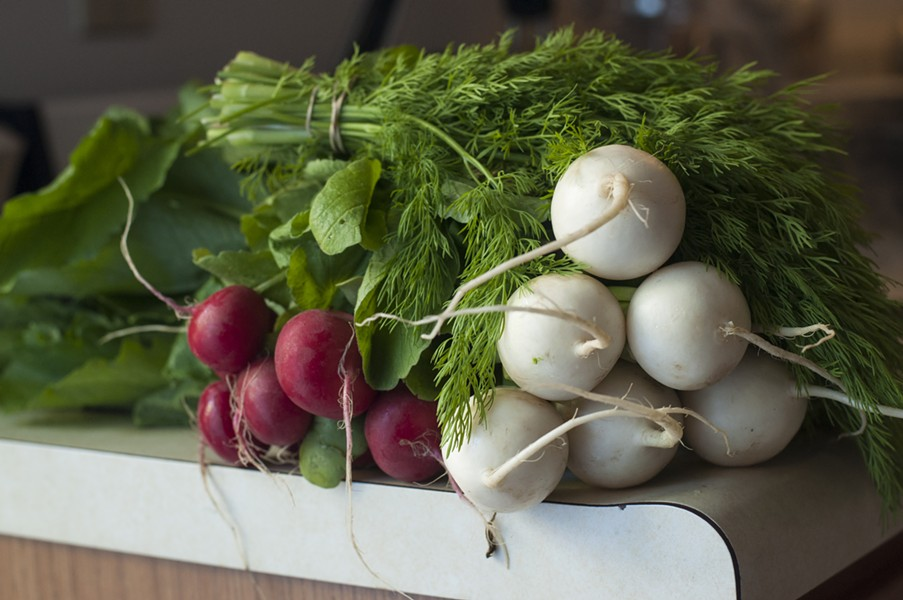 From left: radish, dill, turnip