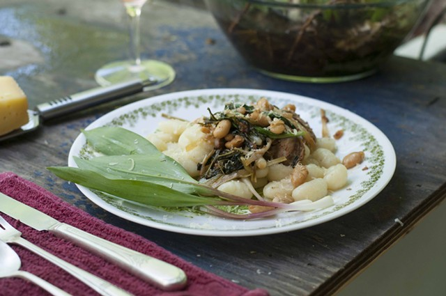 Gnocchi with ramps, sausage, beans and wild greens. What could be better for a springy meal al fresco? - HANNAH PALMER EGAN